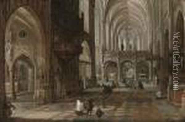 The Interior Of A Gothic Cathedral With Figures Oil Painting - Hendrick van, the Younger Steenwyck