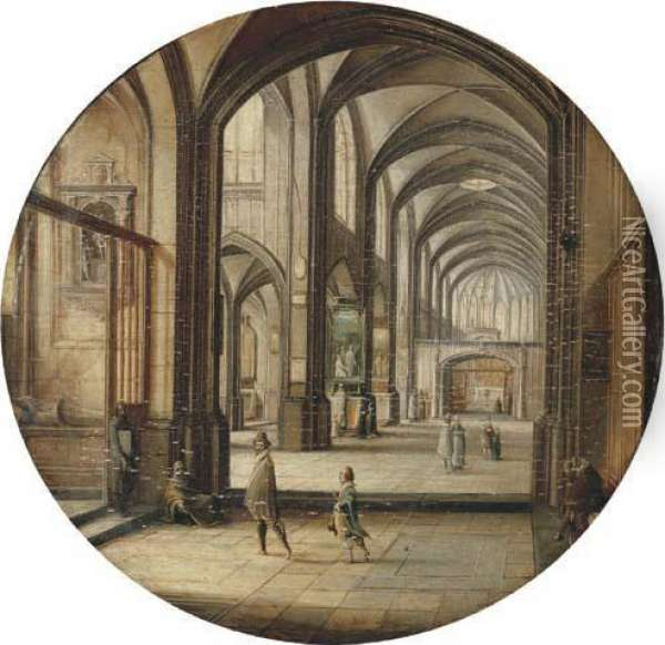 The Interior Of A Cathedral With Gentlemen And Beggars Oil Painting - Hendrick van, the Younger Steenwyck