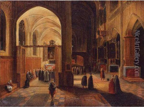Interior Of A Gothic Cathedral With A Mass Being Celebrated In A Side Chapel Oil Painting - Hendrick van, the Younger Steenwyck