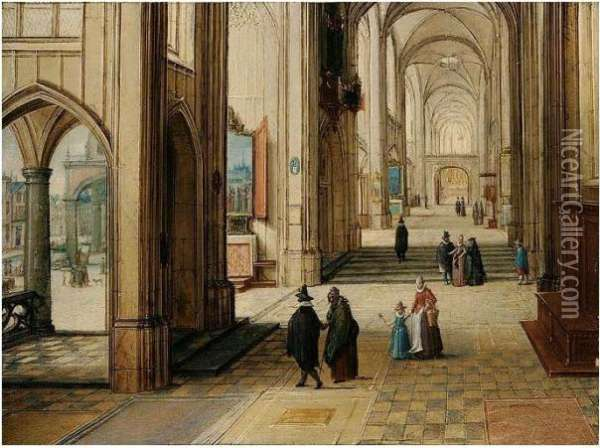 A Gothic Church Interior With An Open Loggia To The Left Oil Painting - Hendrick van, the Younger Steenwyck