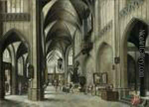 The Interior Of A Gothic Church With A Friar Preaching From Apulpit Oil Painting - Hendrick van, the Younger Steenwyck
