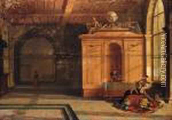 The Interior Of A Palace With Jael Slaying Sisera Oil Painting - Hendrick van, the Younger Steenwyck