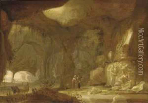 A Natural Grotto With Figures Approaching A Shrine Oil Painting - Rombout Van Troyen