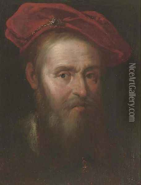 Portrait of a man, bust-length, in a cap Oil Painting - Govert Teunisz. Flinck