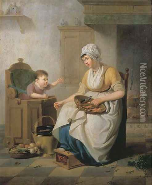 A small child in a high chair with a servant cleaning vegetables seated nearby, in a kitchen interior Oil Painting - Pieter Fontijn