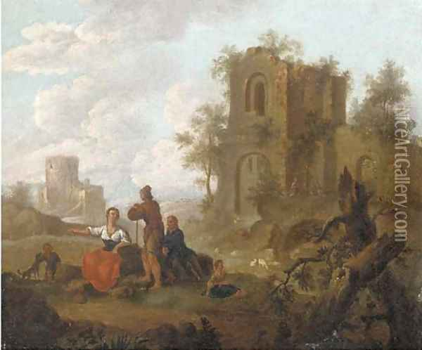 A landscape with figures conversing before ruins; and A river landscape with figures conversing before ruins Oil Painting - Franz Ferg
