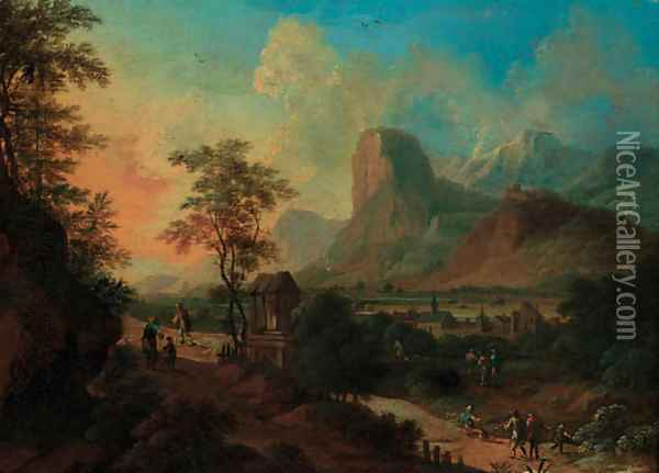 An Italianate landscape with figures on a pass by a shrine at sunset Oil Painting - Frans De Paula Ferg