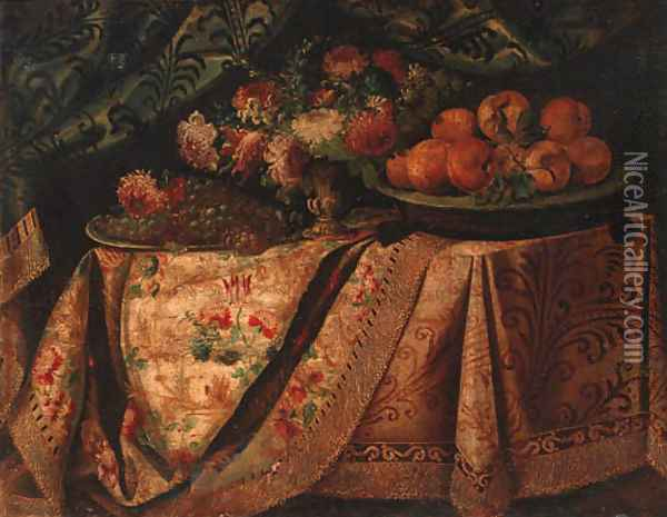 A vase of flowers with a salvers of grapes and oranges on a draped table Oil Painting - Francesco (Il Maltese) Fieravino