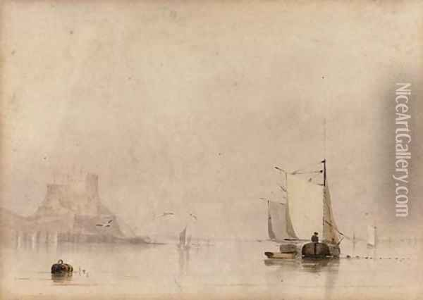 Fishing vessels before St Michael's Mount Oil Painting - Anthony Vandyke Copley Fielding