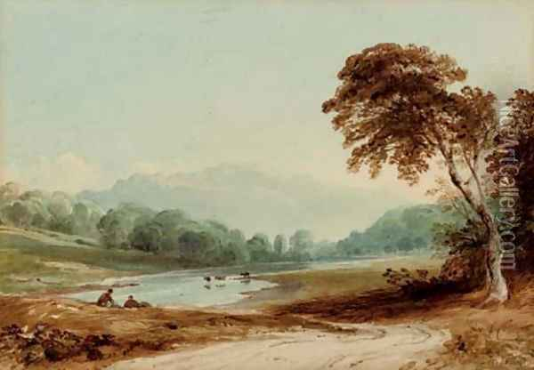 On the Wye Oil Painting - Anthony Vandyke Copley Fielding