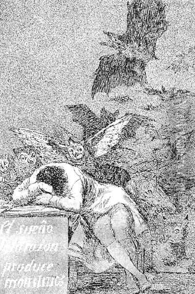 Caprichos Plate 43 The Sleep Of Reason Produces Monsters Oil Painting - Francisco De Goya y Lucientes