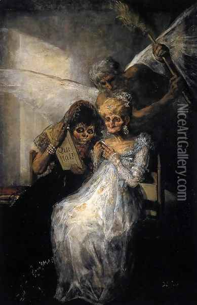 Les Vieilles or Time and the Old Women Oil Painting - Francisco De Goya y Lucientes
