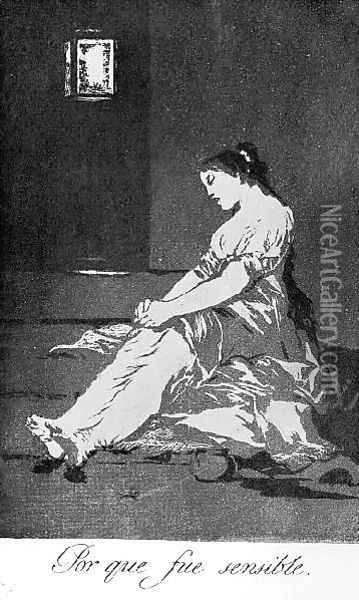 Caprichos Plate 32 Because She Was Susceptible Oil Painting - Francisco De Goya y Lucientes