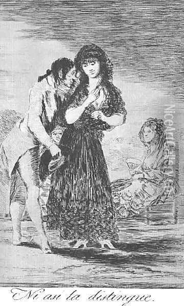 Caprichos Plate 7 Even Thus He Cannot Make Her Out Oil Painting - Francisco De Goya y Lucientes