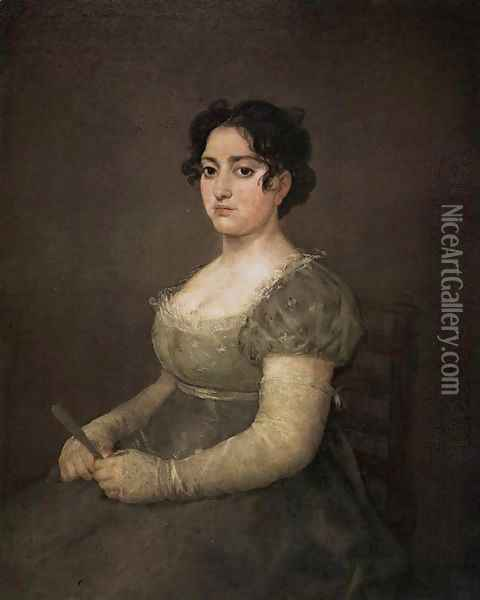 Portrait of a Lady with a Fan Oil Painting - Francisco De Goya y Lucientes