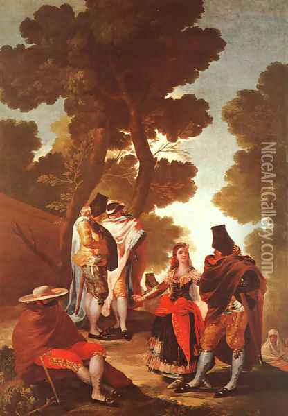 The Maja And The Masked Men Oil Painting - Francisco De Goya y Lucientes