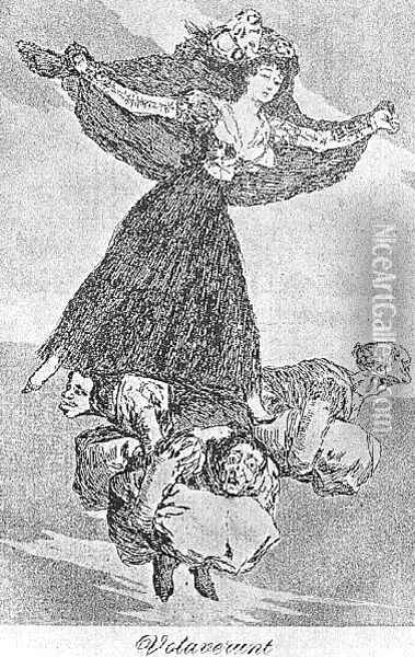 Caprichos Plate 61 They Are Flying Oil Painting - Francisco De Goya y Lucientes