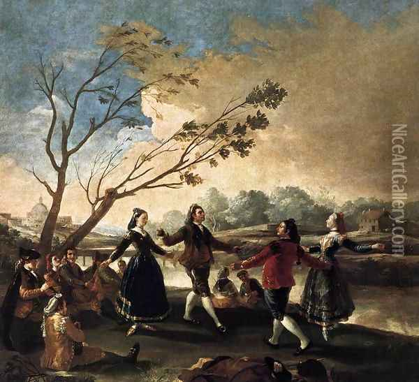 Dance Of The Majos At The Banks Of Manzanares Oil Painting - Francisco De Goya y Lucientes
