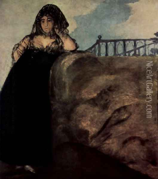 Manola (La Leocadia) Oil Painting - Francisco De Goya y Lucientes