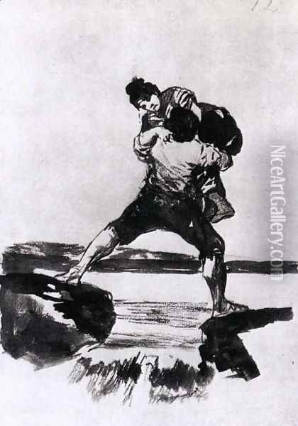 Peasant Carrying a Woman Oil Painting - Francisco De Goya y Lucientes