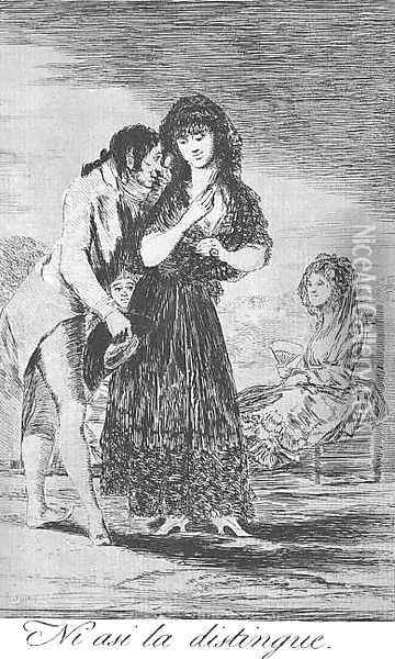 Caprichos - Plate 7: Even Thus he Cannot Make her Out Oil Painting - Francisco De Goya y Lucientes