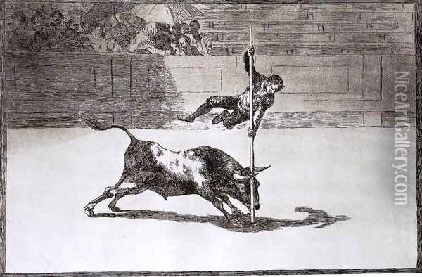 The Speed and Daring of Juanito Apiñani in the Ring of Madrid Oil Painting - Francisco De Goya y Lucientes
