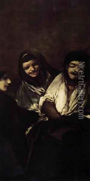 Two Women and a Man Oil Painting - Francisco De Goya y Lucientes