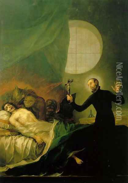 St Francis Borja at the Deathbed of an Impenitent Oil Painting - Francisco De Goya y Lucientes
