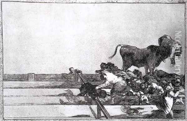 Unfortunate Events in the Front Seats of the Ring of Madrid Oil Painting - Francisco De Goya y Lucientes