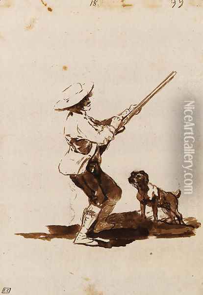 A Hunter loading his Gun, accompanied by his dog Oil Painting - Francisco De Goya y Lucientes