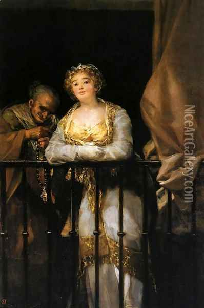 Maja and Celestina Oil Painting - Francisco De Goya y Lucientes
