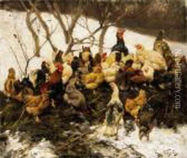 Poultry Yard In Winter Oil Painting - Geza Vastagh