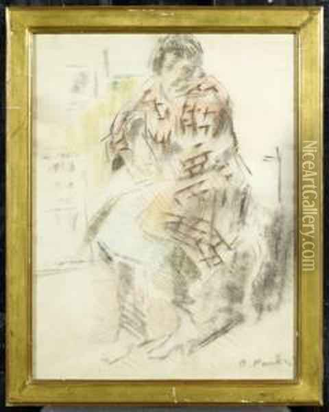 A Woman Seated. Oil Painting - Otto Vautier