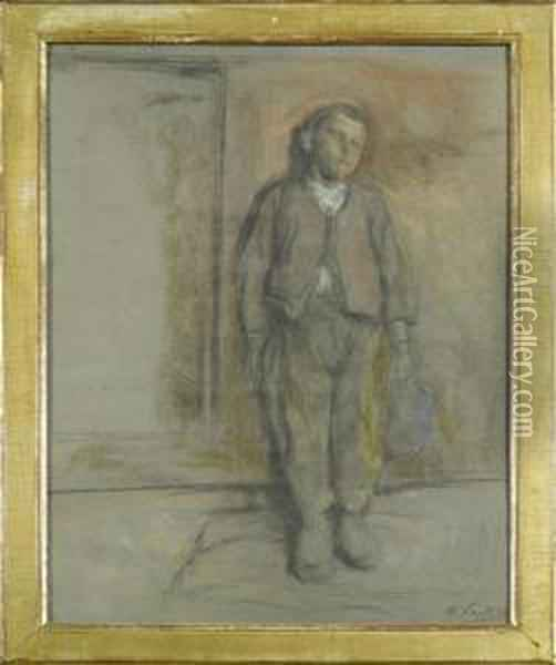 A Peasant Boy. Oil Painting - Otto Vautier