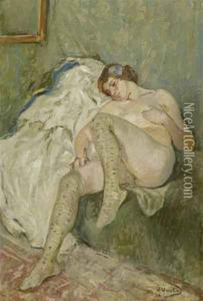 Reclining Female Nude Oil Painting - Otto Vautier