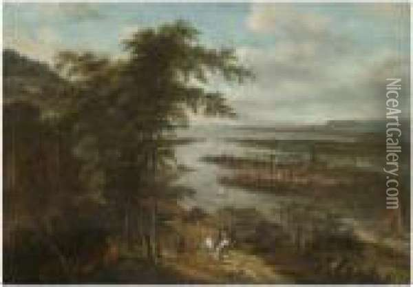 An Extensive River Landscape With Huntsmen In The Foreground, Atown Beyond Oil Painting - Dionys Verburgh