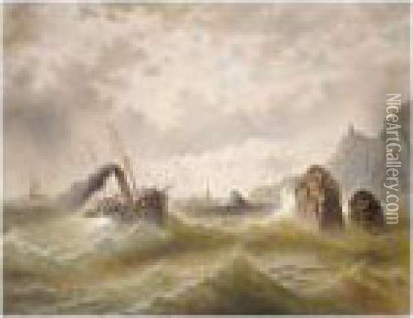 Seascape And Steamer Oil Painting - Jules Vernier