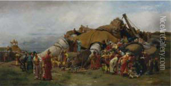 Gulliver And The Lilliputians Oil Painting - Jehan Georges Vibert