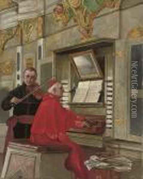 A Duet At The Organ Oil Painting - Jehan Georges Vibert