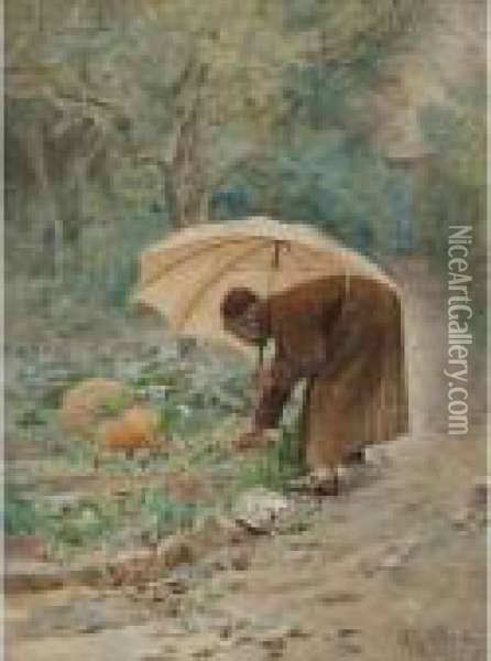 The Monk's Vegetable Garden Oil Painting - Jehan Georges Vibert