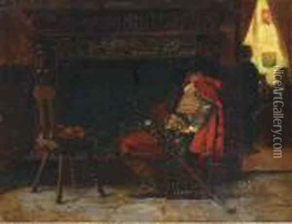 Asleep By The Fire Oil Painting - Jehan Georges Vibert