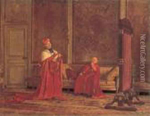 Mutual Admiration Oil Painting - Jehan Georges Vibert