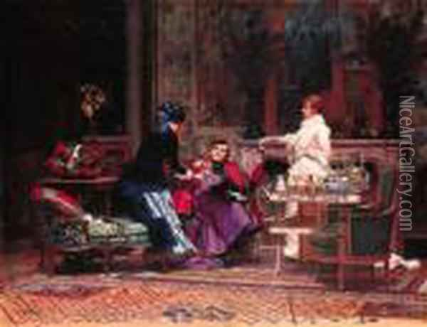 Monseigneur En Visite (a Visit From His Grace) Oil Painting - Jehan Georges Vibert