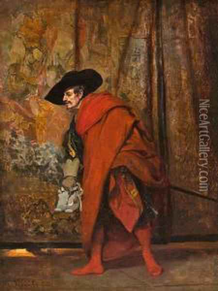 Polonius Behind The Curtain Oil Painting - Jehan Georges Vibert