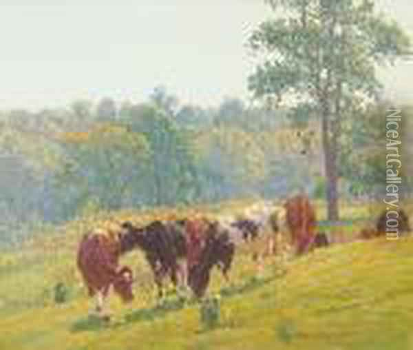 Cattle Grazing At Midday Oil Painting - Edward Charles Volkert
