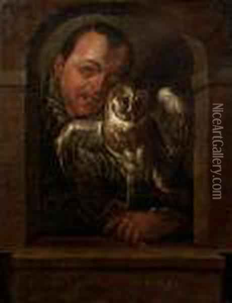 A Man With An Owl Looking Through A Stonearch Oil Painting - Hans Von Aachen