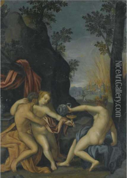Lot And His Daughters Oil Painting - Hans Von Aachen