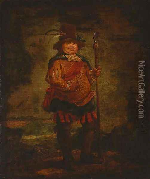 Portrait of a peasant man, standing full-length, wearing a pleated orange doublet and holding a spear Oil Painting - Francisco De Goya y Lucientes