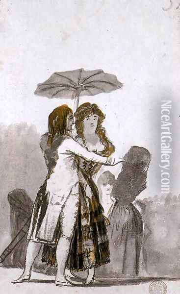 Couple with Parasol on the Paseo 2 Oil Painting - Francisco De Goya y Lucientes