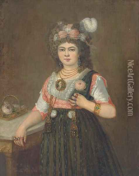 Portrait of a lady, three quarter-length, with her right hand on a table Oil Painting - Francisco De Goya y Lucientes